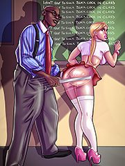 I don't have to suck black cock in class - Interracial cartoon by Michi