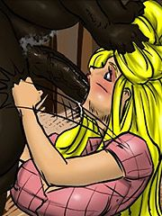 Then he grabbed her head even tighter - Farm girl by Illustrated interracial