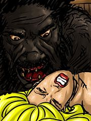 Forcing his long black tongue down her throat - Farm girl by Illustrated interracial