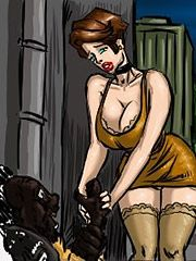 Hairy hand hanging her breast - Beggars take my wife by Illustrated interracial