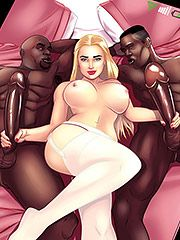 Fuck yeah take it you freaky bitch - Interracial cartoon porn by Michi